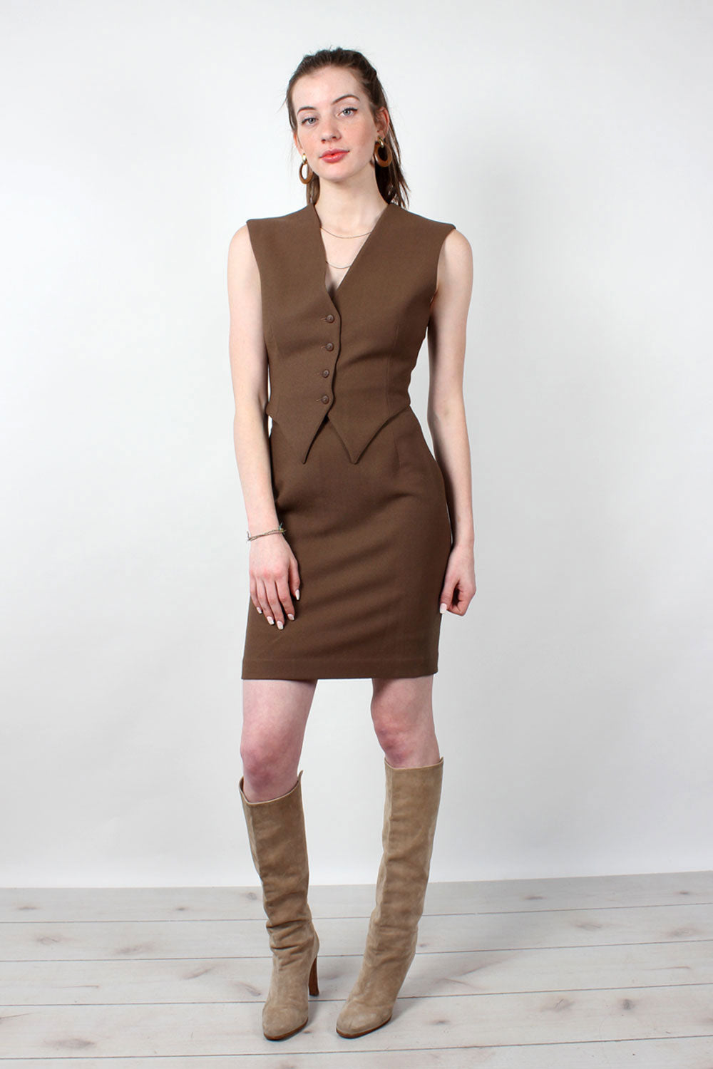 Bark Brown Vest Suit S