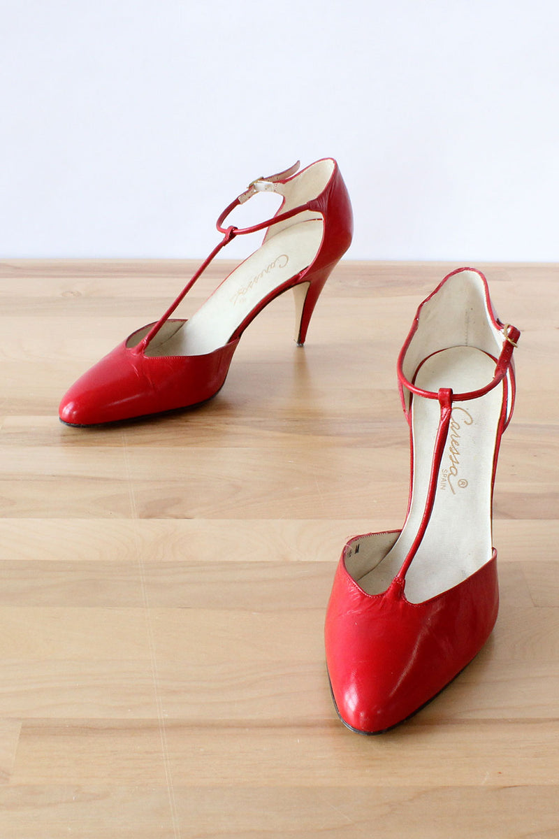 Cherry Leather T-strap Heels 7