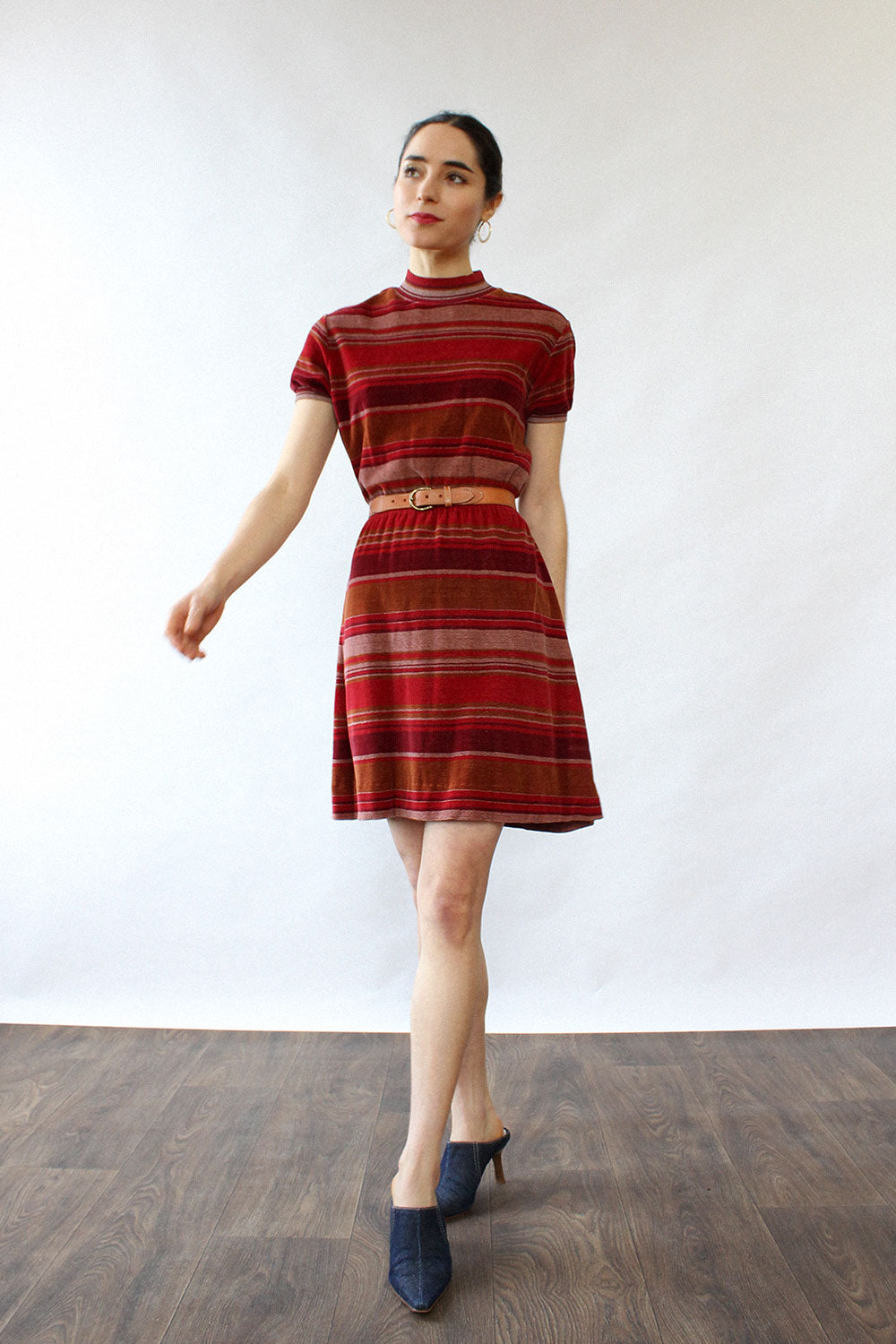Maroon Striped Velour Mini Dress XS-M