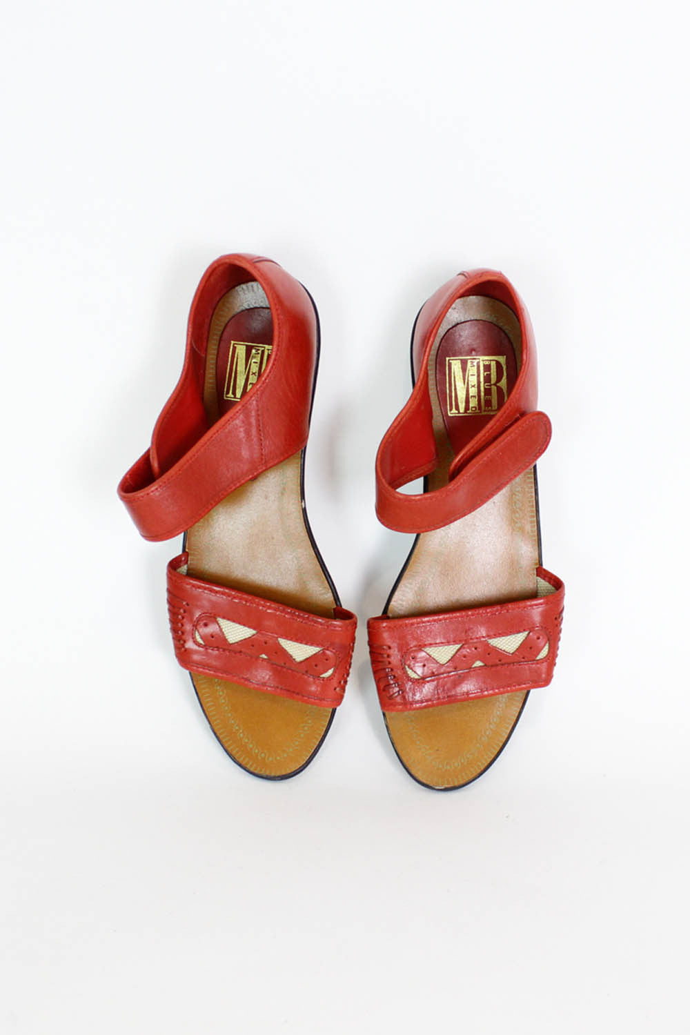 Red Leather Cutout Sandals 7