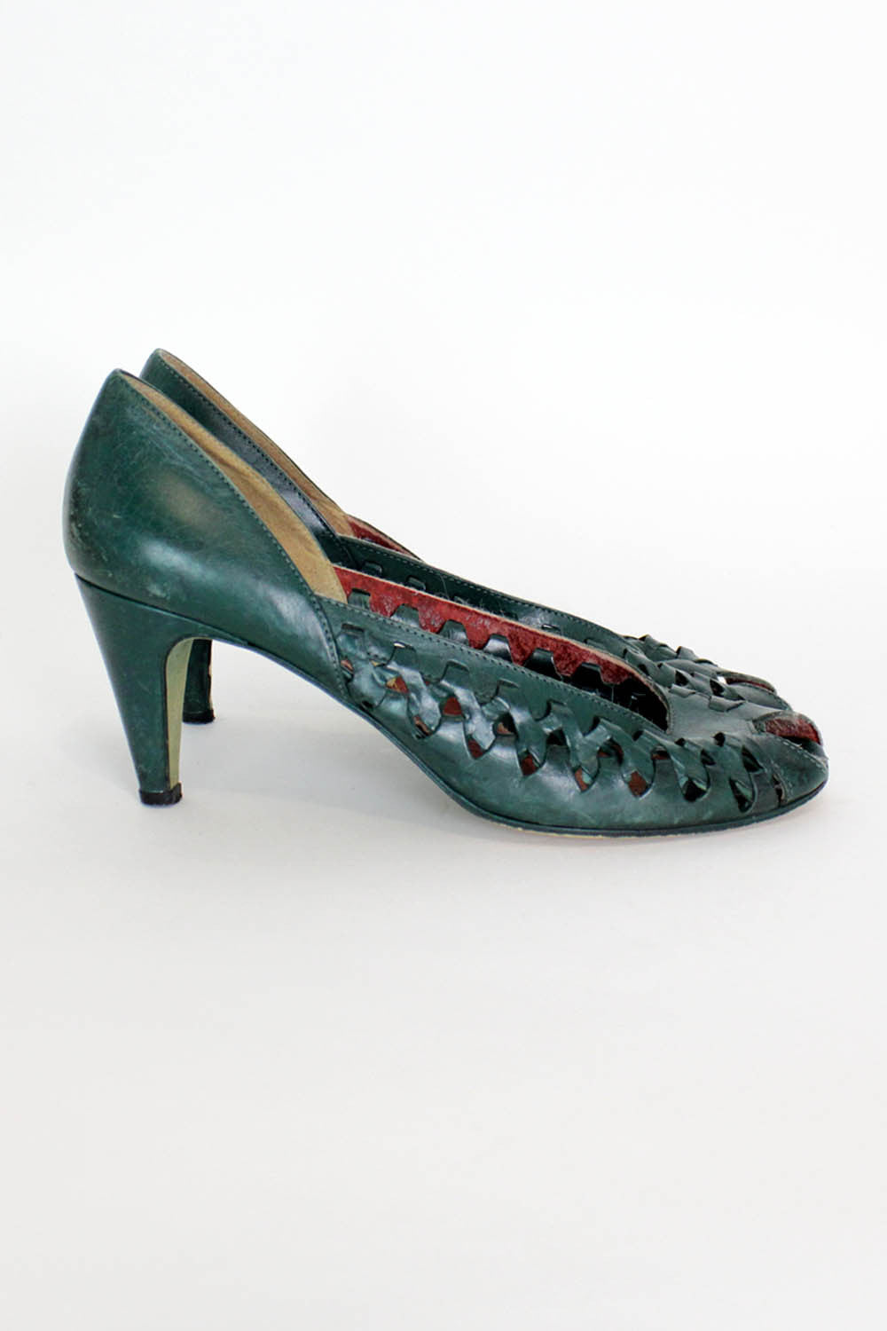 Sale / Forest Green Woven Heels 8