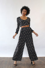Moody Floral Palazzo Jumpsuit M/L