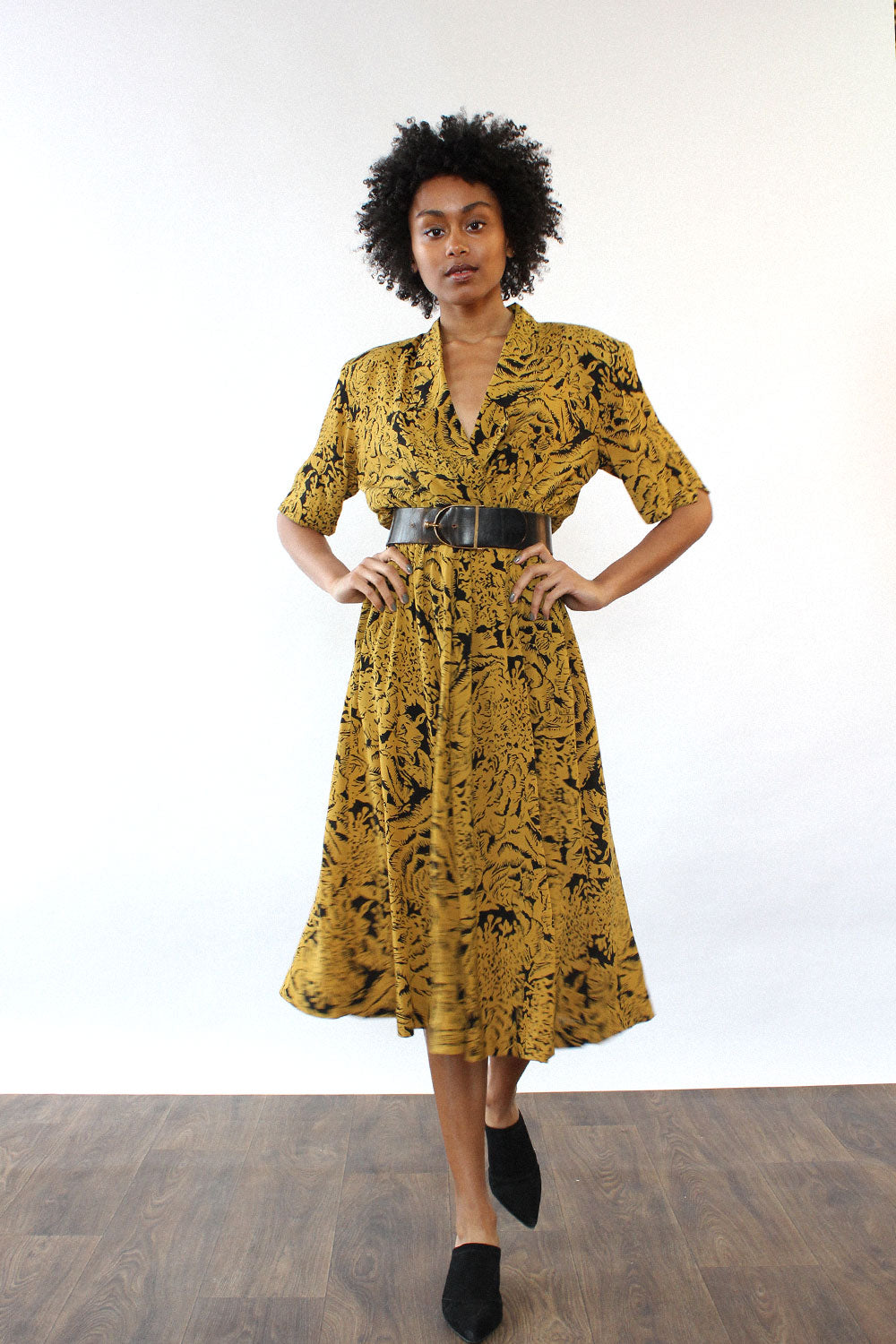 Goldenrod Abstract Flare Dress S/M
