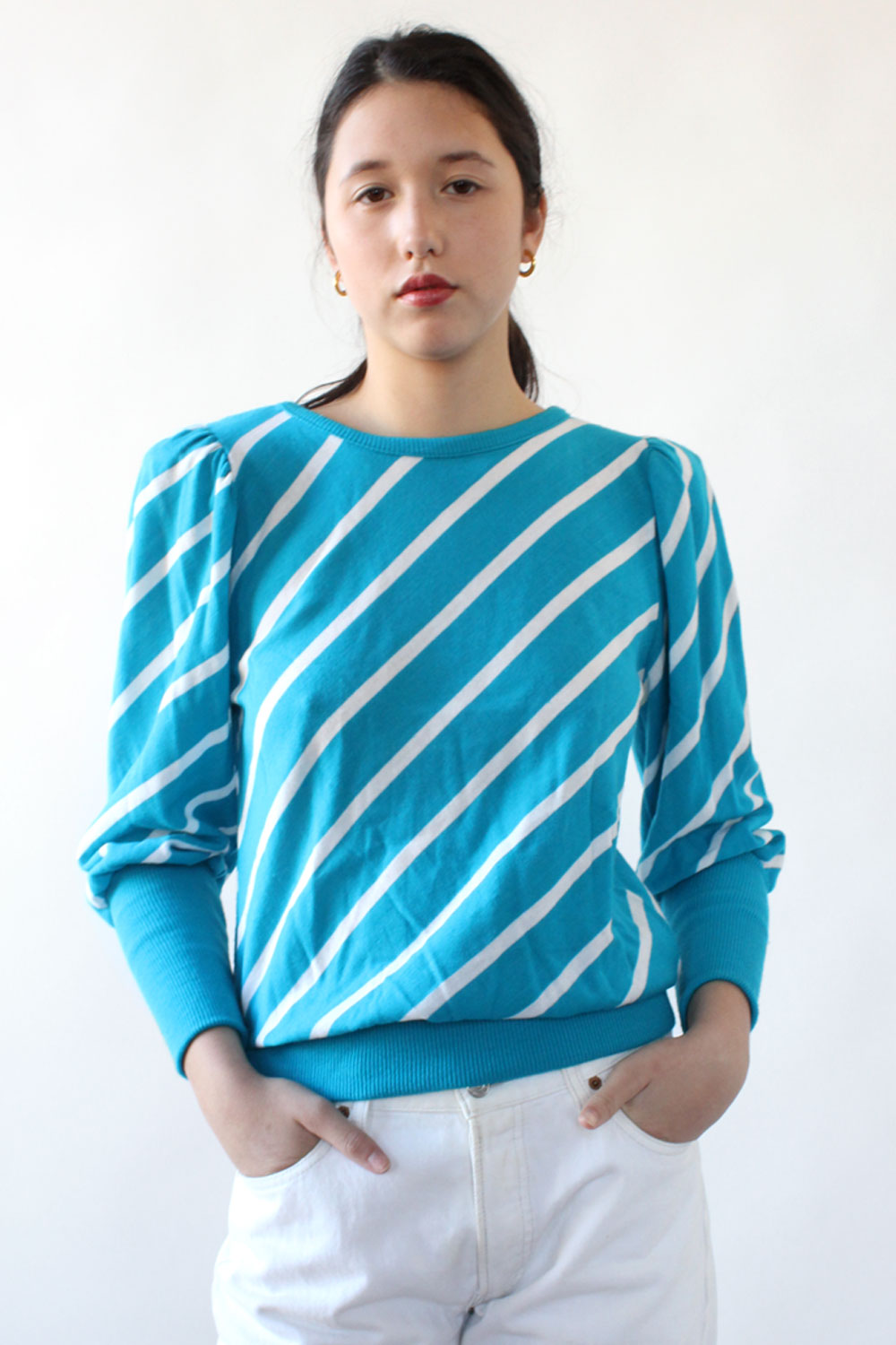 Tonya Striped Puff Knit Top M/L