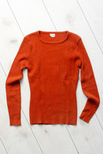 Rust Ribbed Sweater M