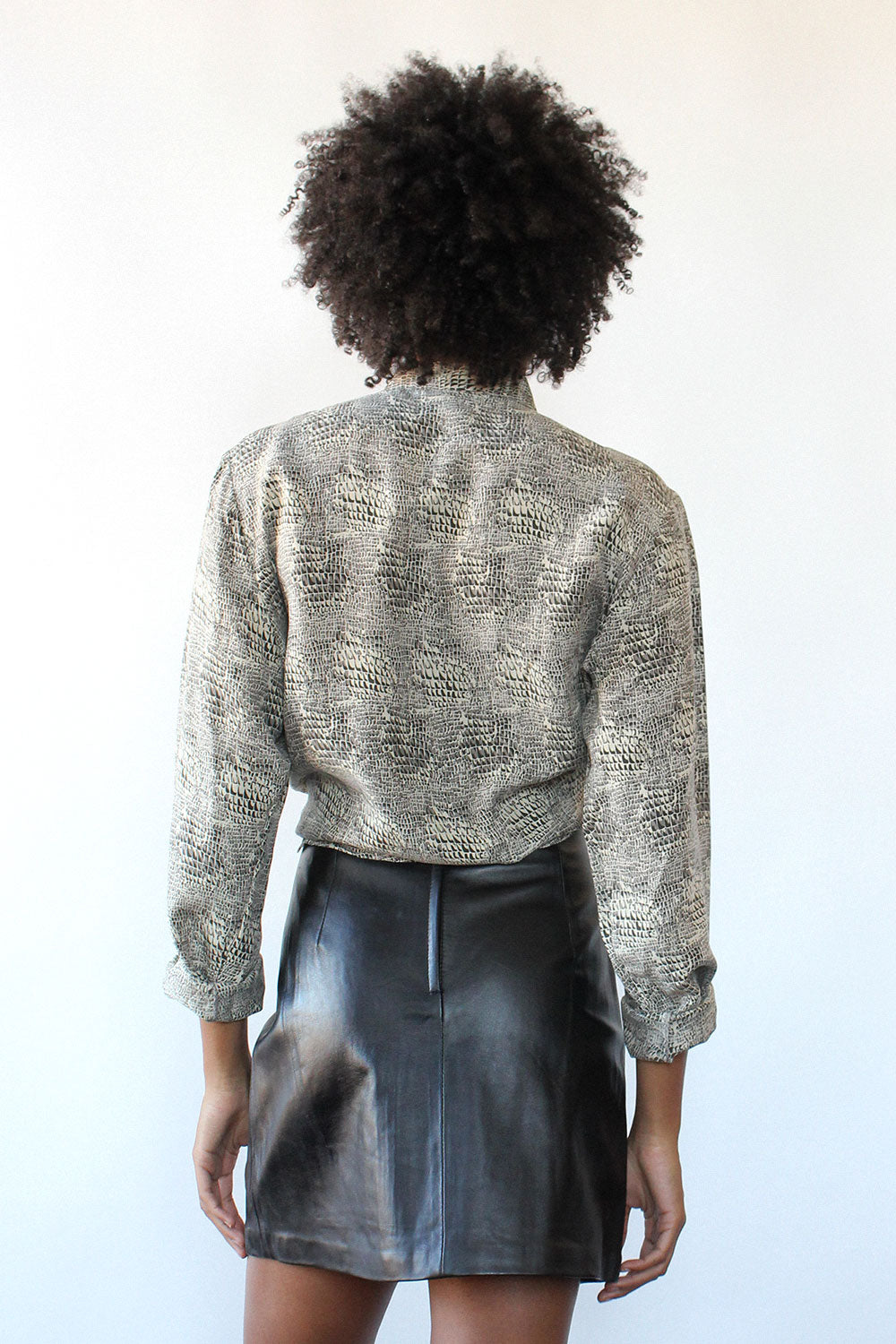 Muted Snakeskin Silk Blouse M/L