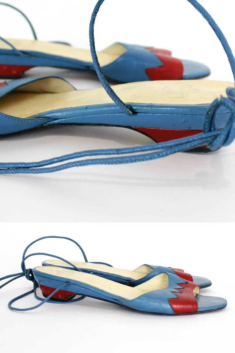 Zig Zag Strappy Leather Sandals 8