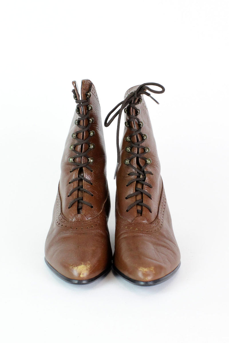 Sepia Lace-Up Granny Boots 7
