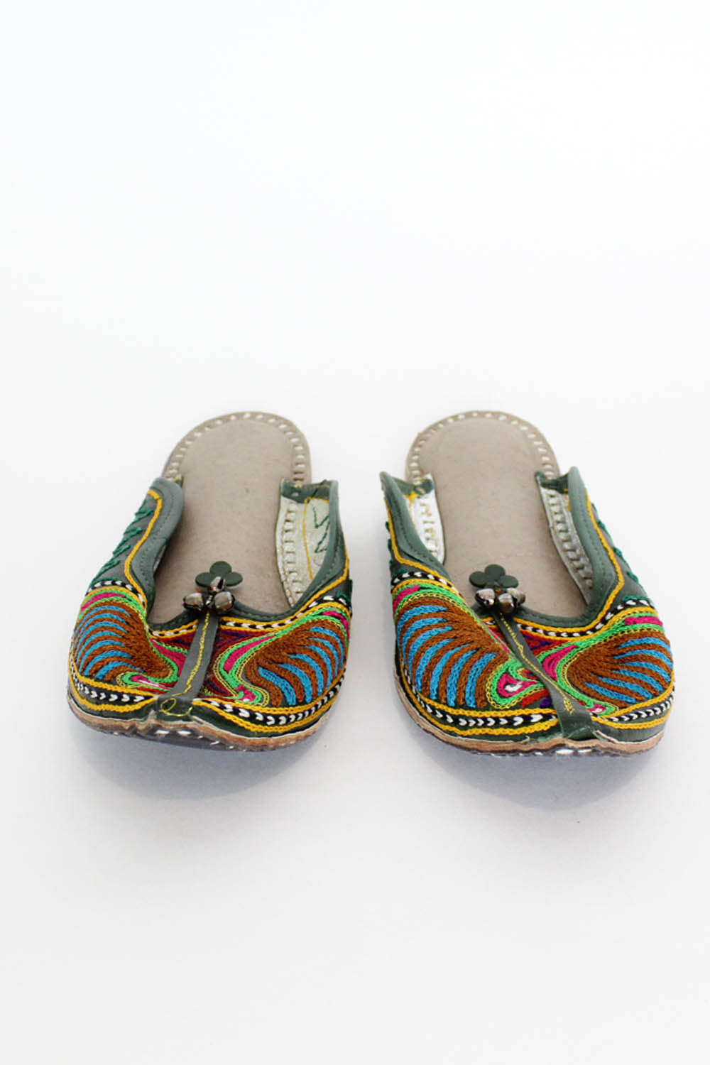 Green Leather Khussa Slippers 8.5