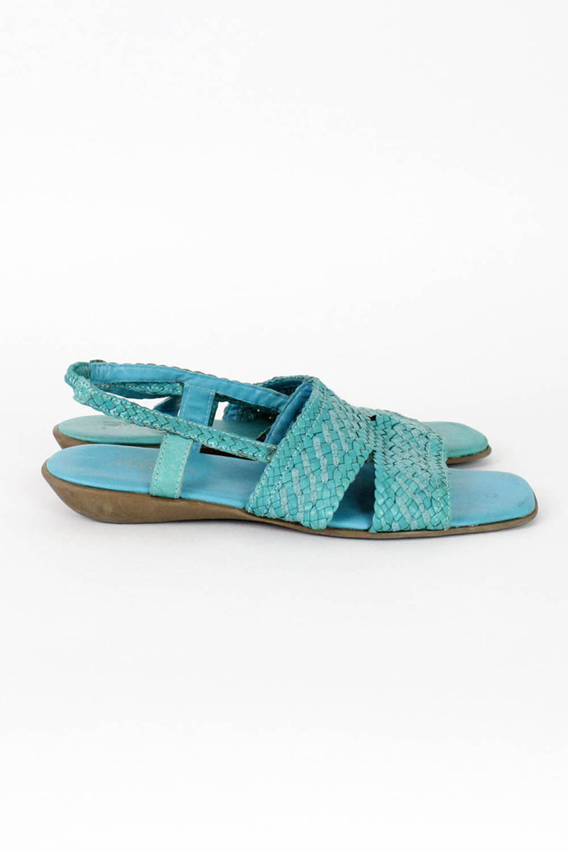 Turquoise Woven Sandals 8
