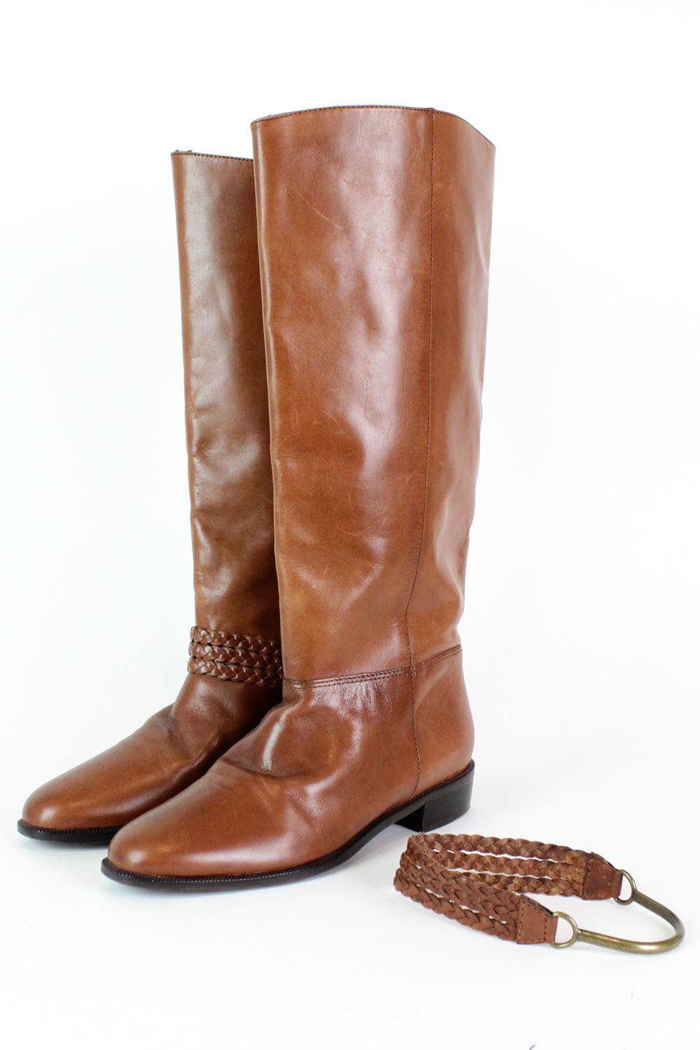 Chestnut Leather Braided Harness Boots 6 {As Is}