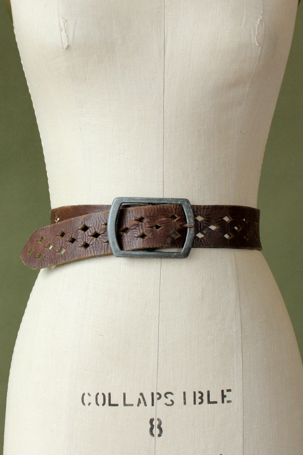 Diamond Cut Leather Belt