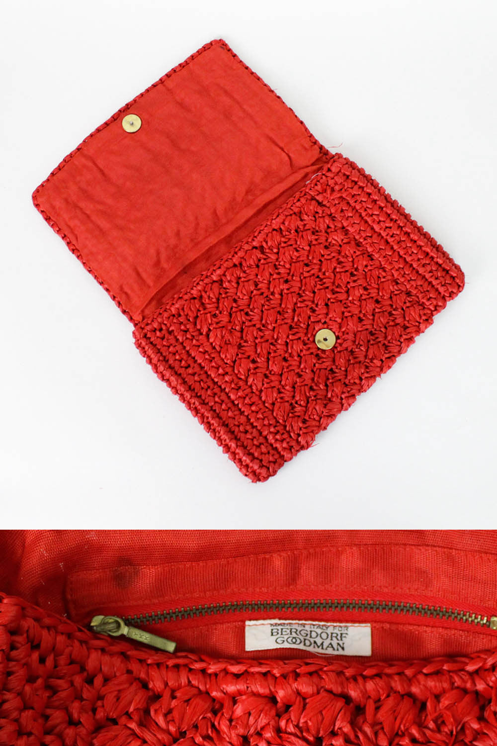 red evening clutch