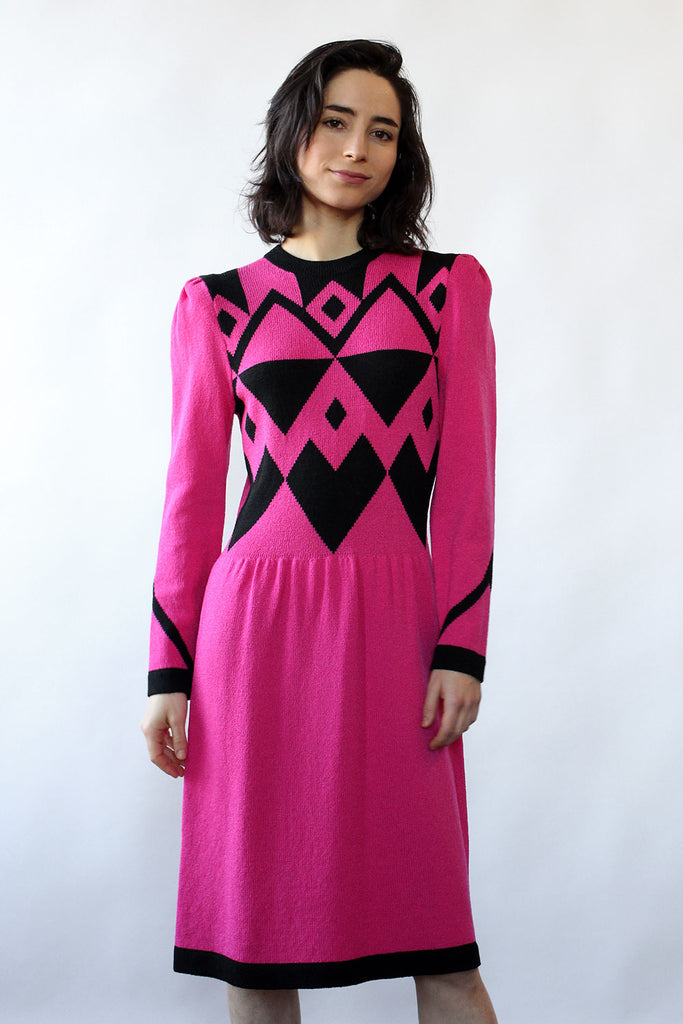 Adolfo Graphic Sweater Dress S/M
