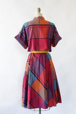 Harvest Plaid Flared Dress L
