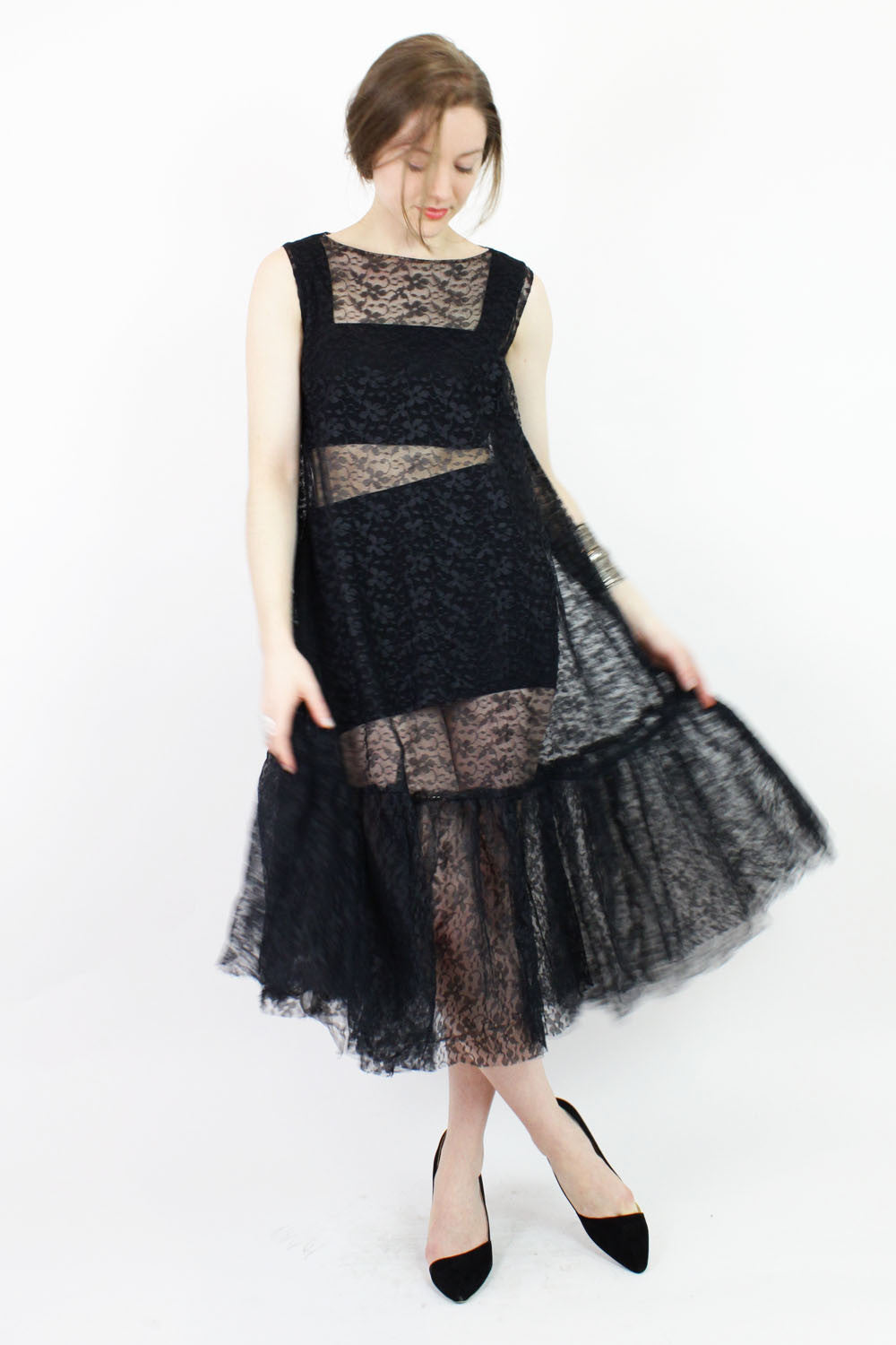black lace trapeze dress