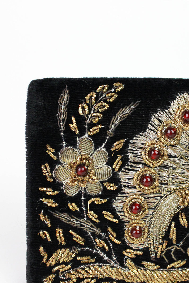 Velvet Peacock Embroidered Clutch or Purse