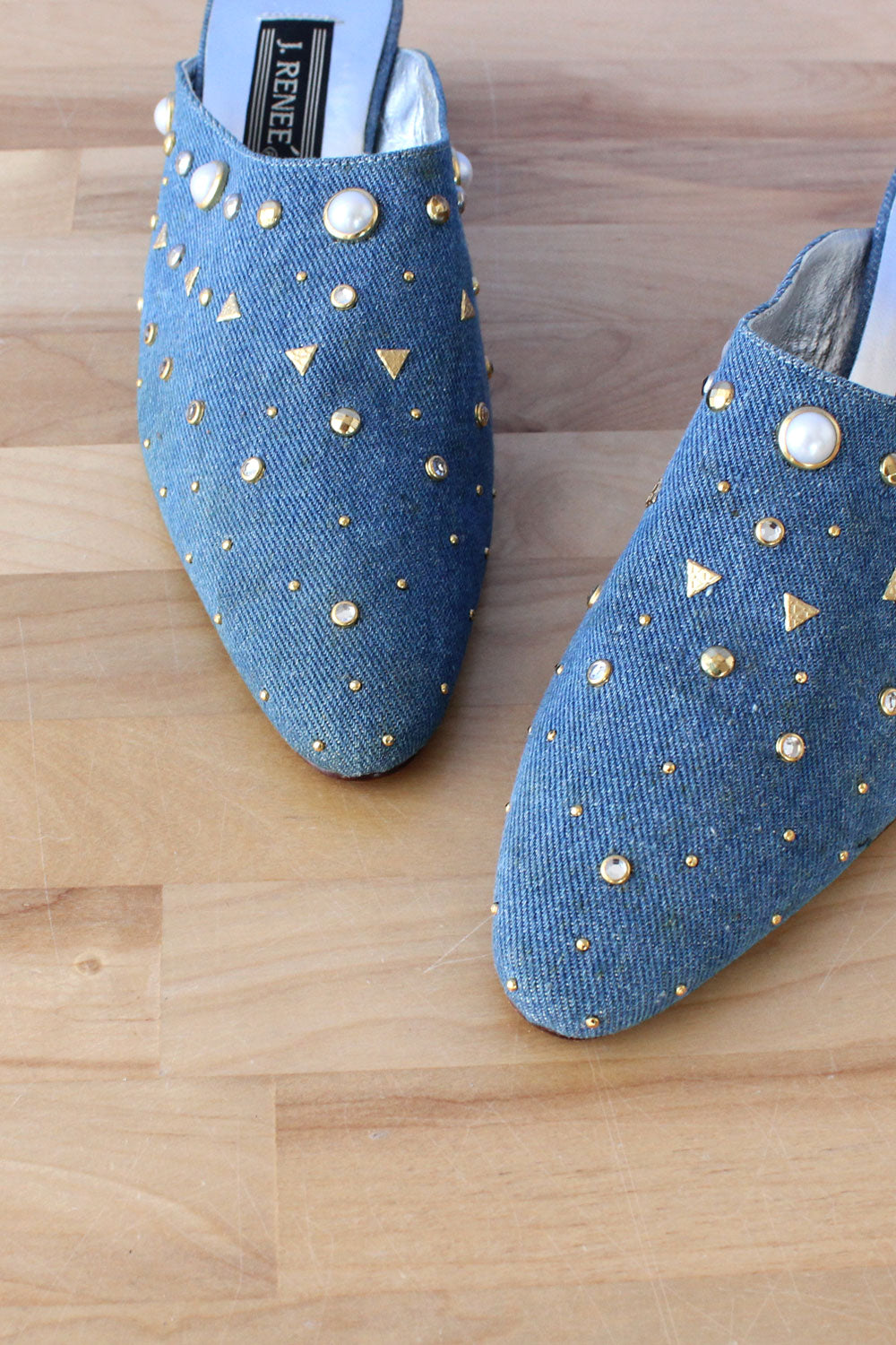 Bedazzled Denim Mules 8-9