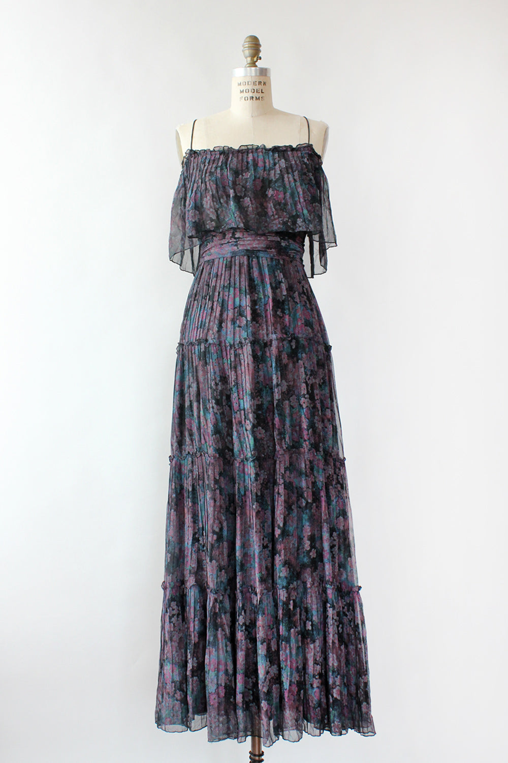 Magnin Pleated Watercolor Maxi Dress S/M