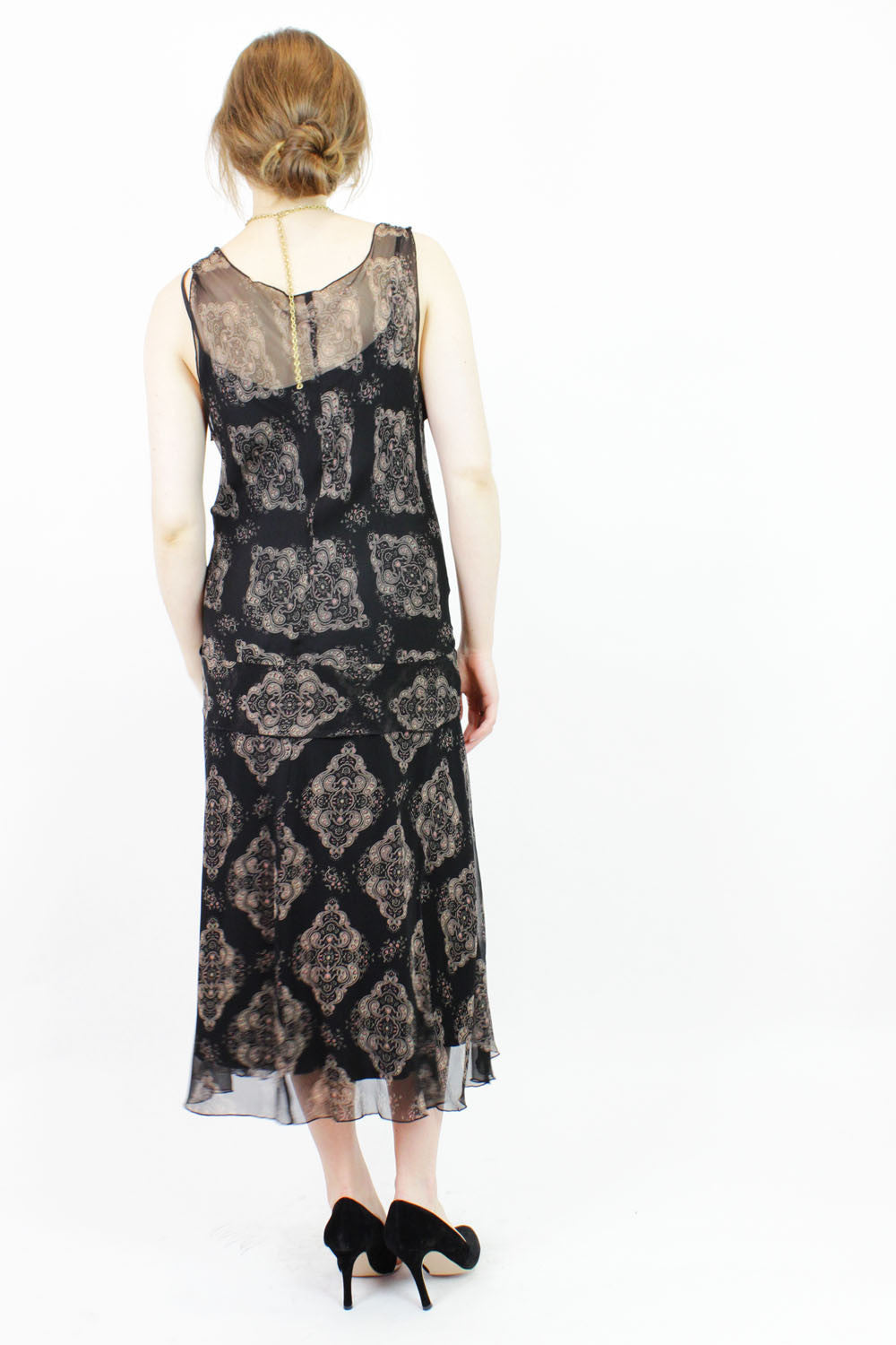 jazzy silk chiffon dress M