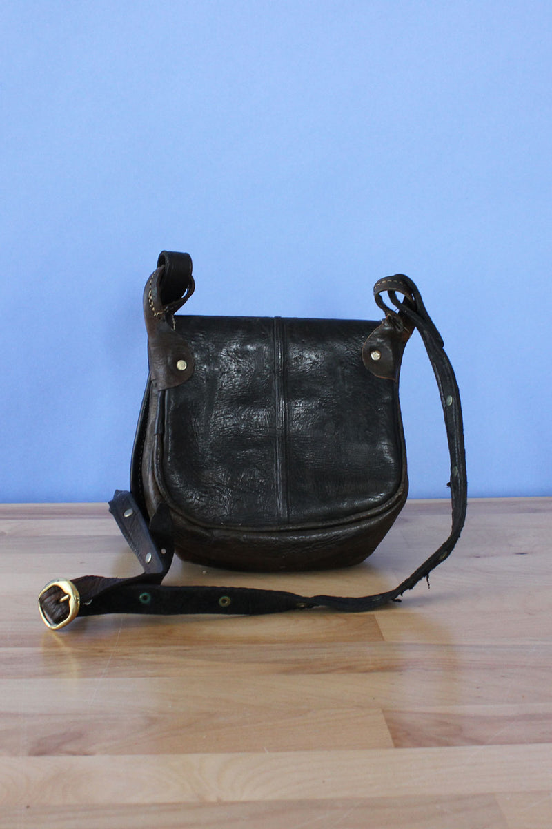 Hammered Metal Leather Crossbody Bag