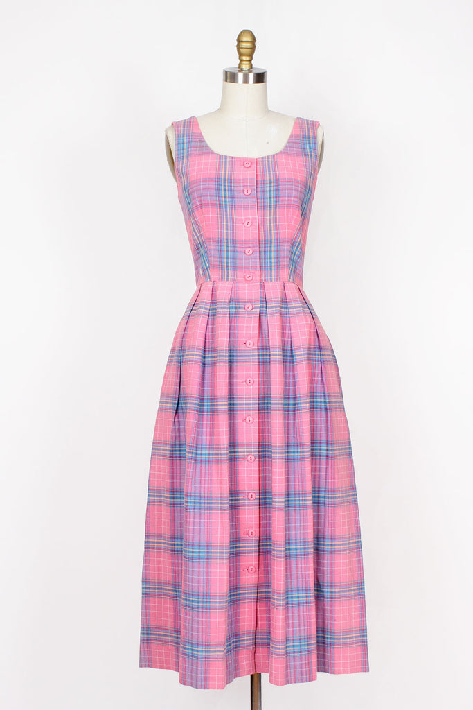 Lanz Pink Plaid Dress S