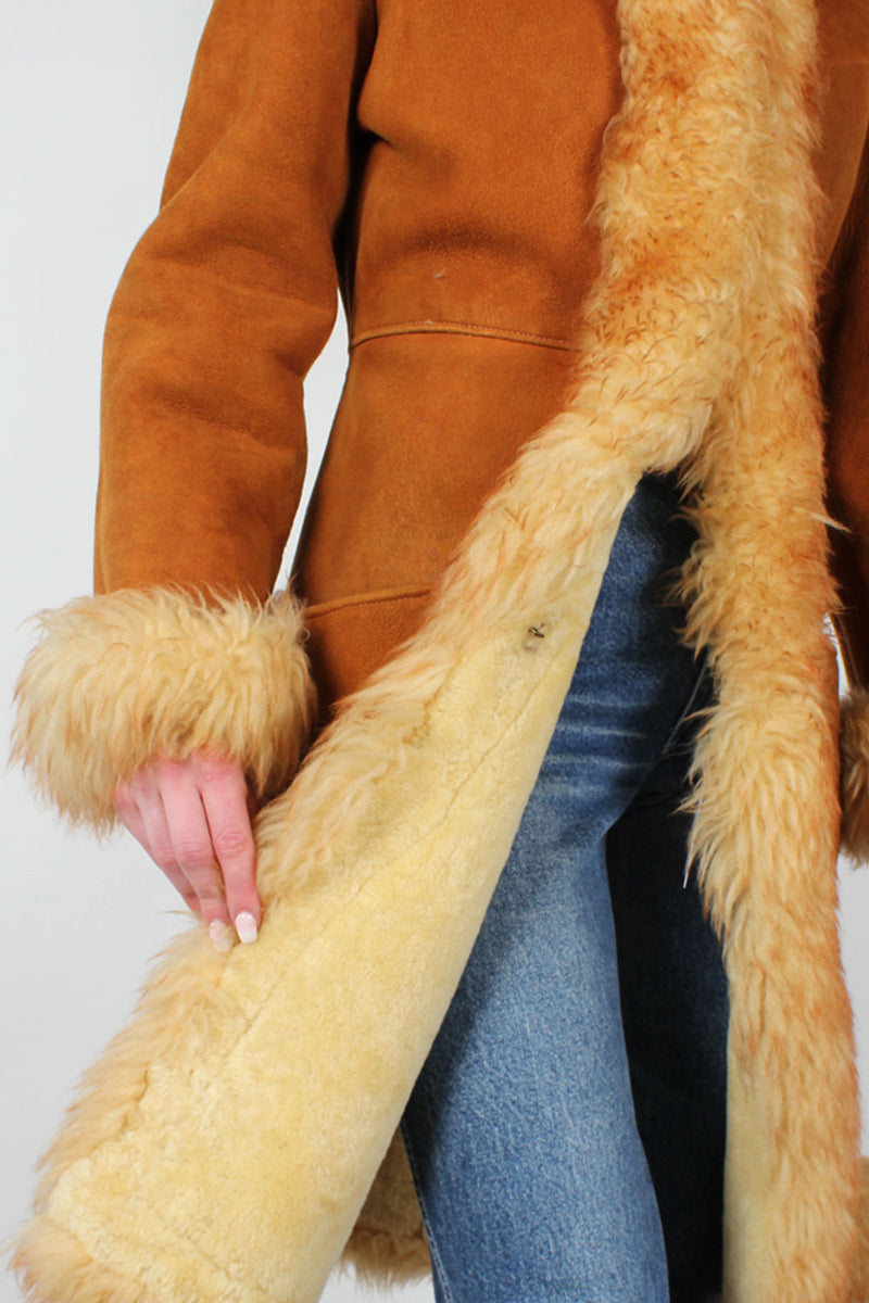 Honey Shearling Penny Lane Coat XS/S