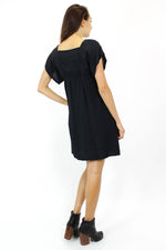 black smocked dress