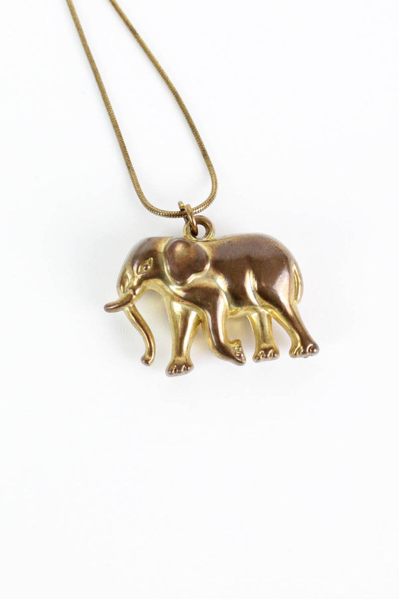 Bronzed Elephant Necklace