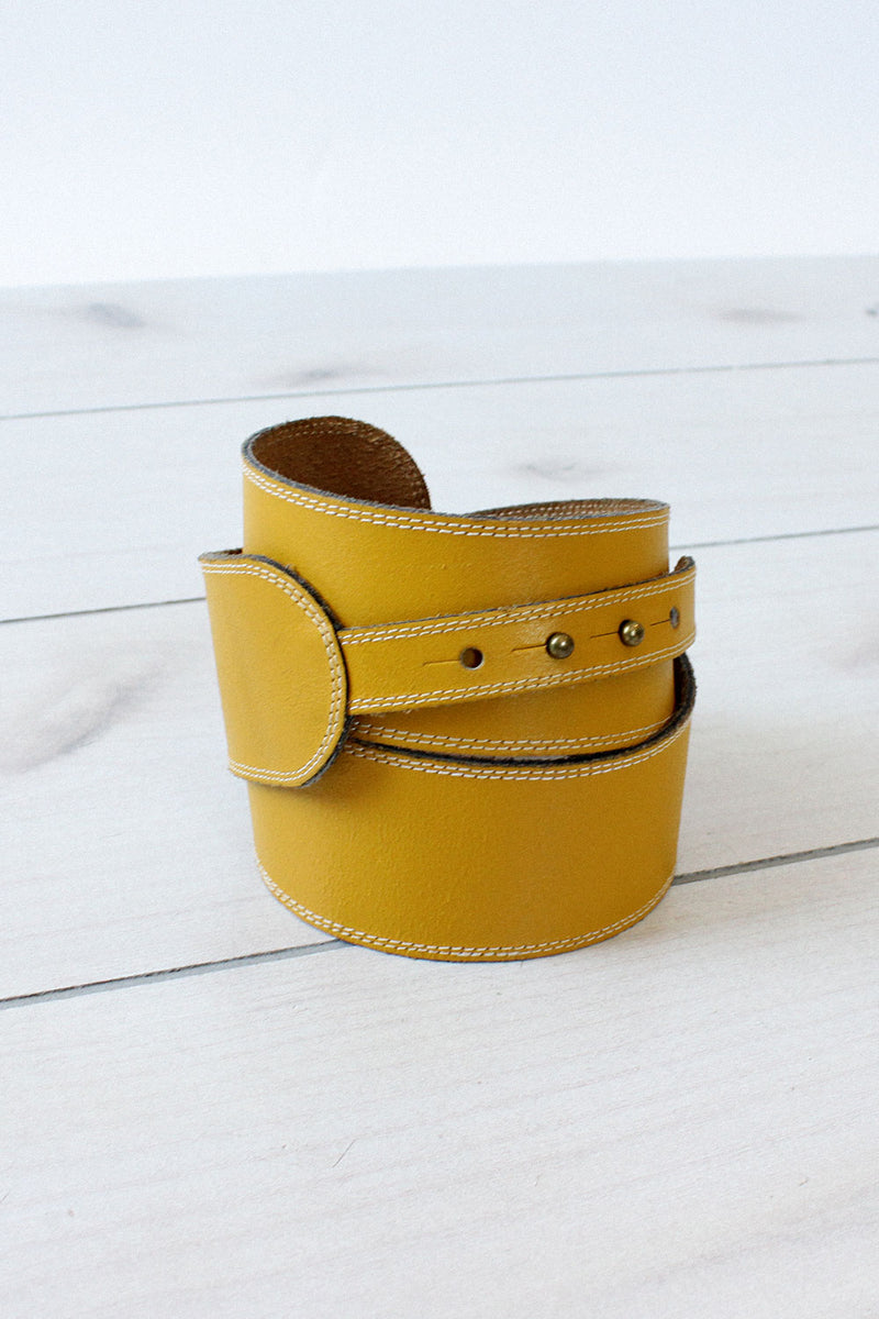 Mustard Leather Notch Belt