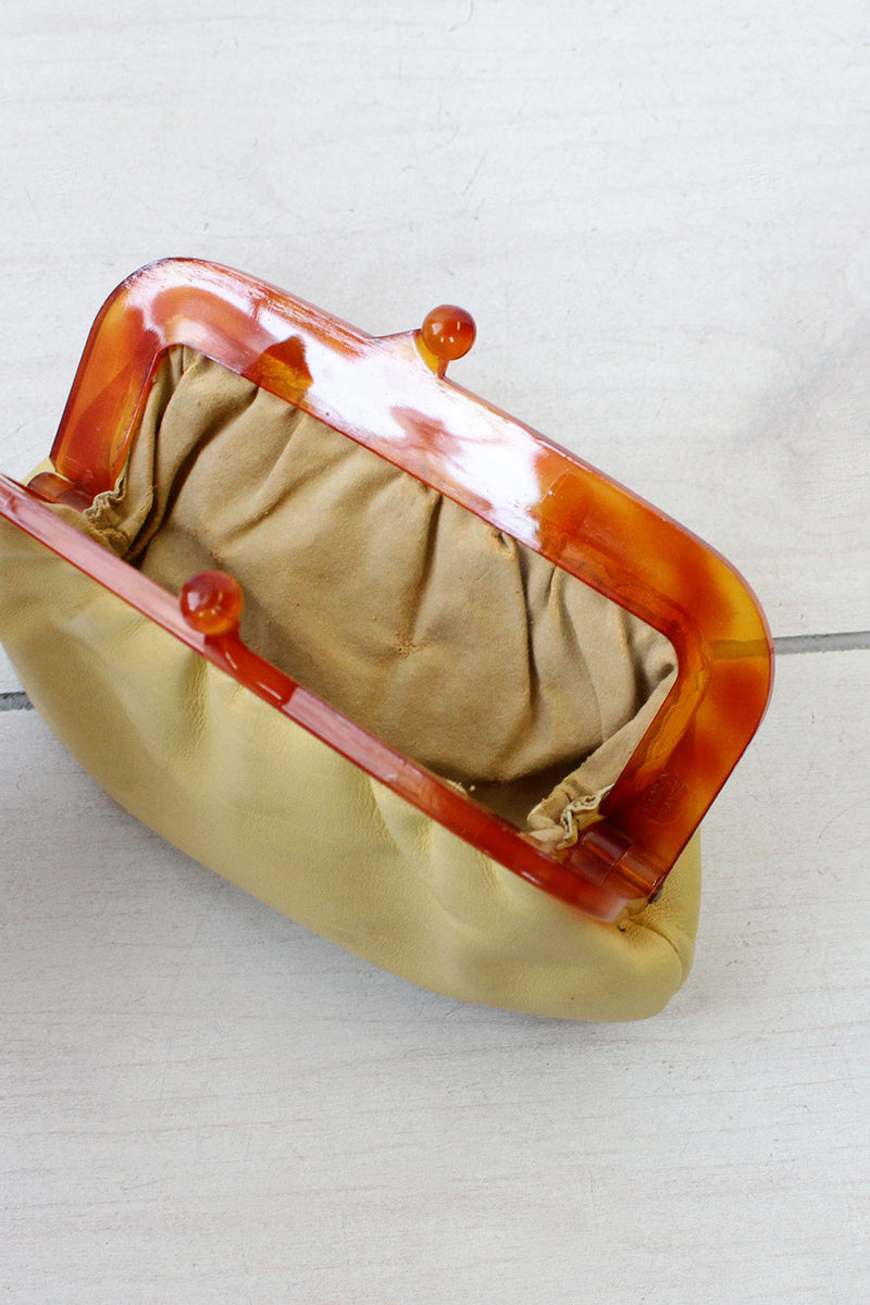 Amber Frame Vanilla Leather Pouch