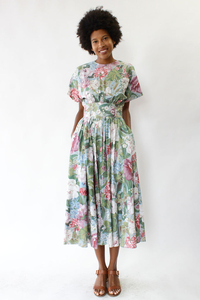 Floral Pastel Keyhole Dress S