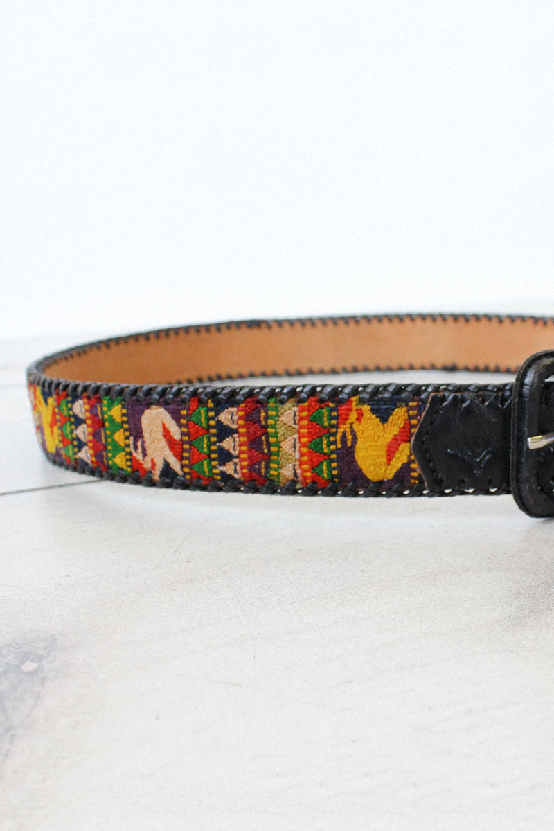 Rabbit Tapestry Leather Belt
