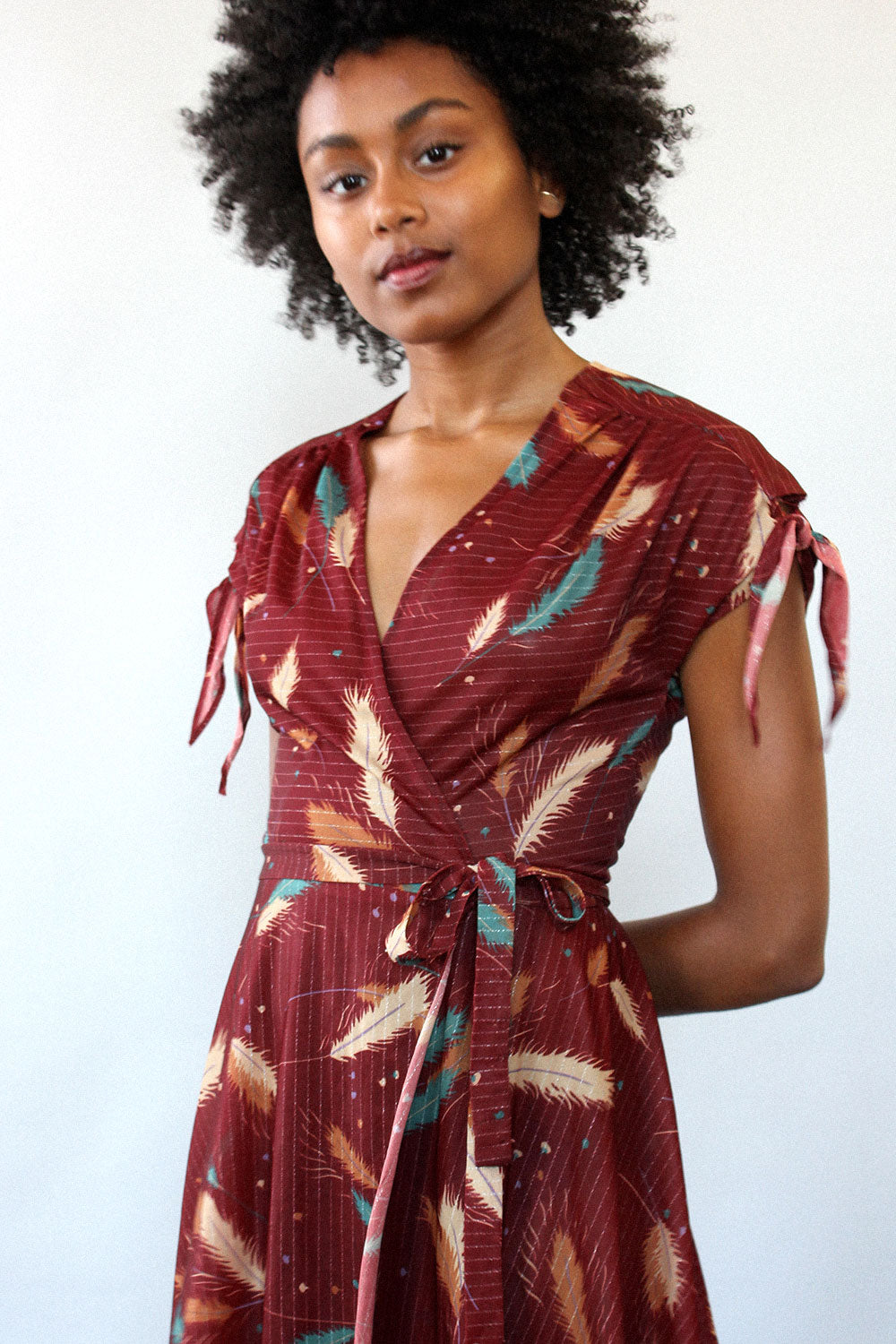 Metallic Feather Wrap Dress XS/S
