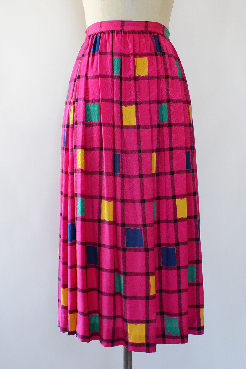 Fuchsia Grid Skirt M/L