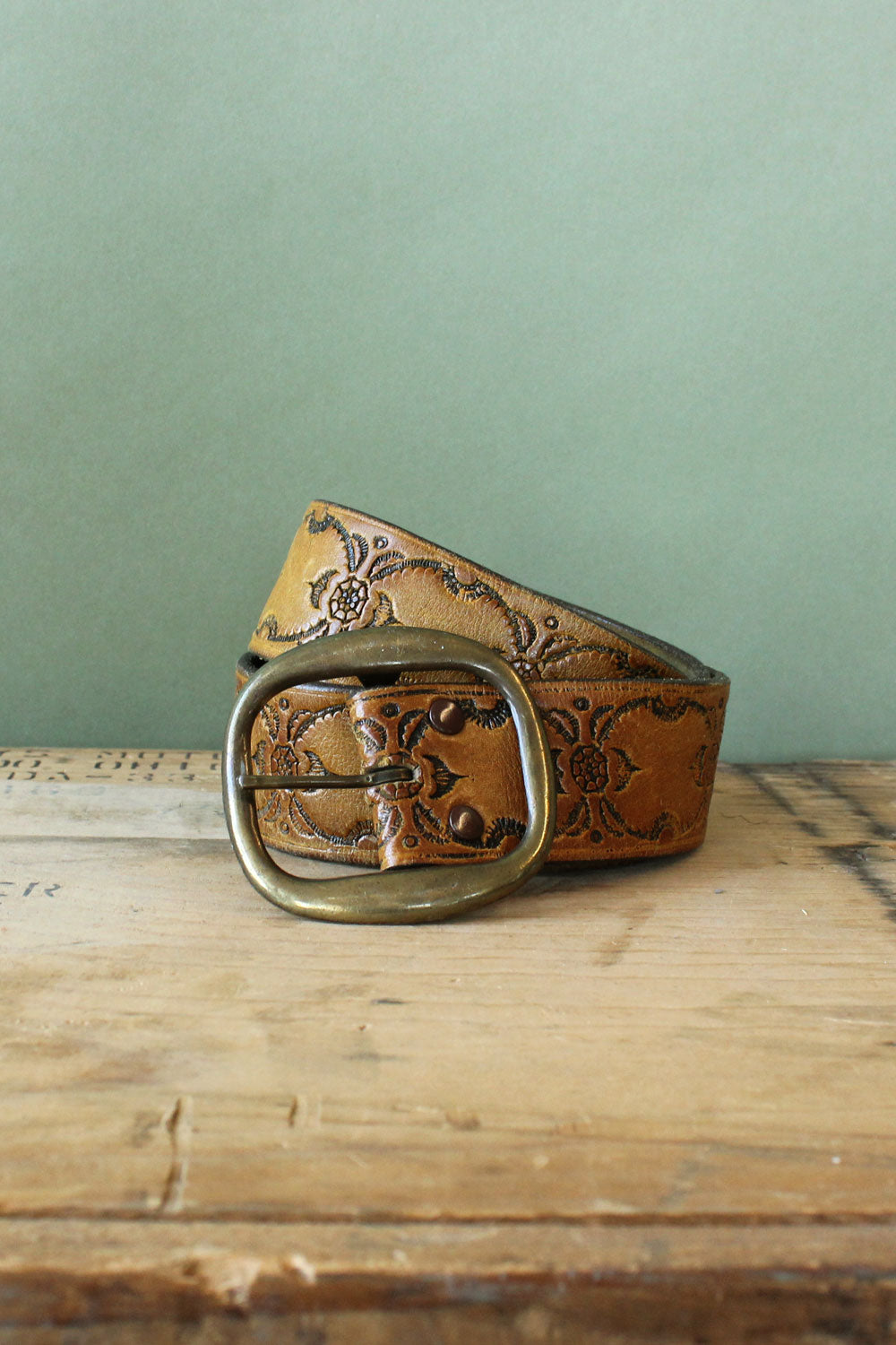 Tooled Soft Leather Belt