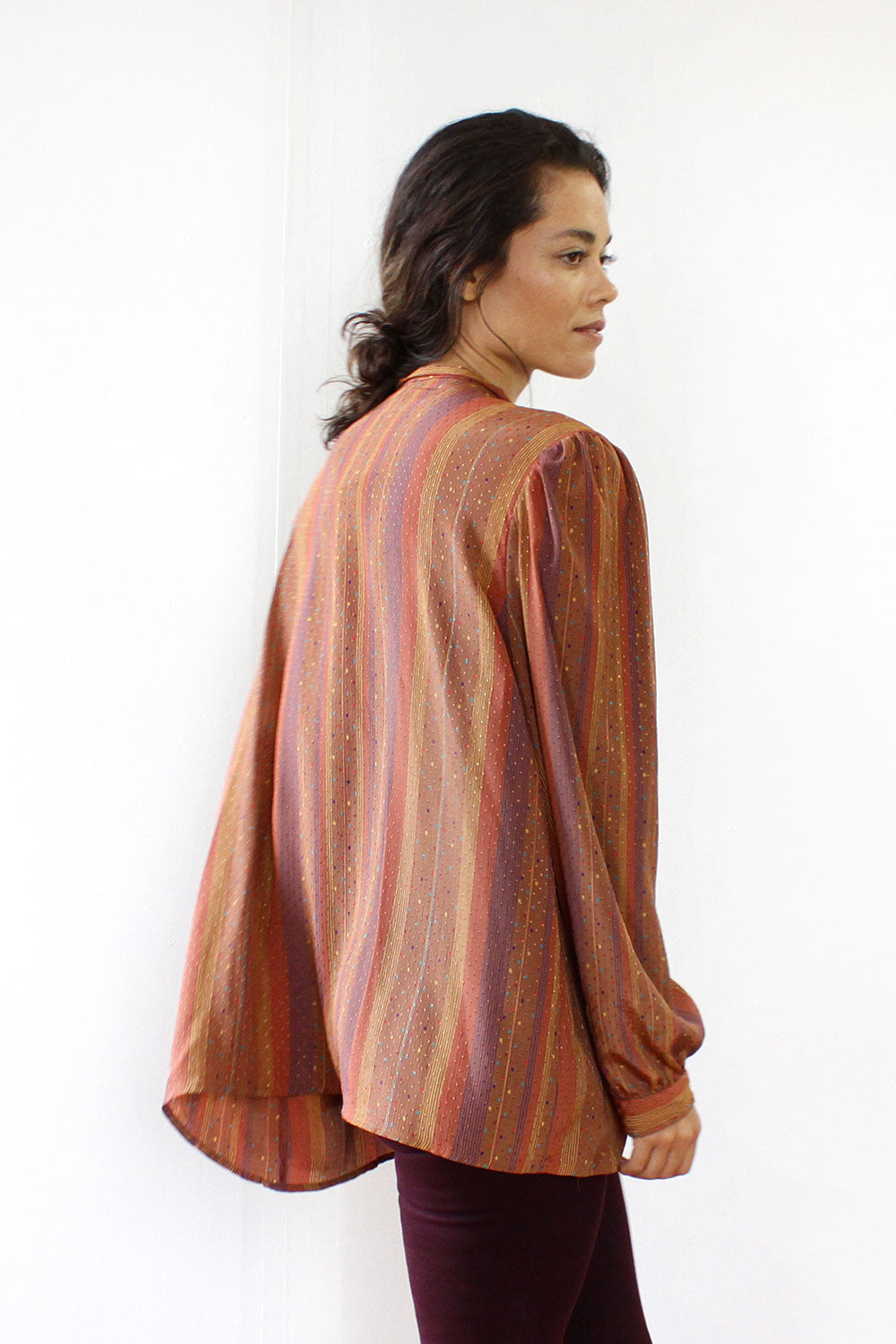 Rust & Saffron Striped Silk Blouse M/L