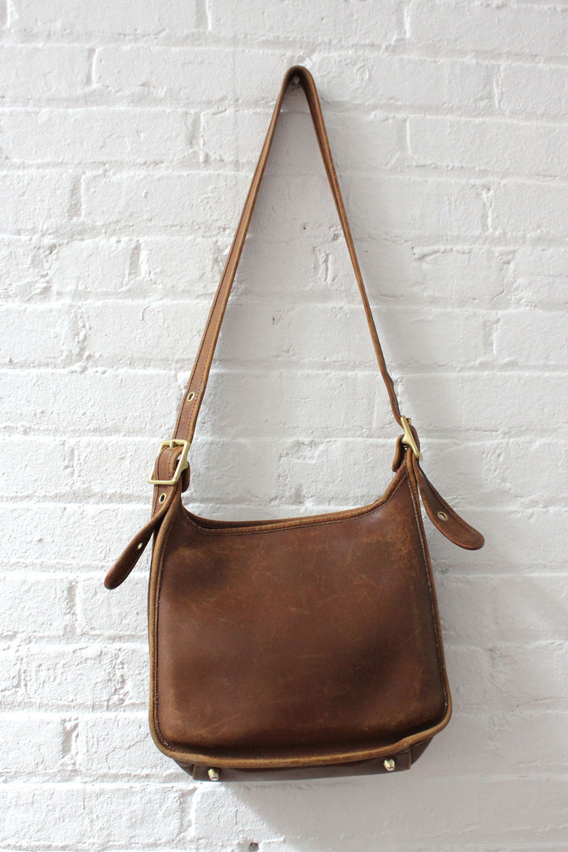 Distressed Cocoa Leather Coach Bag