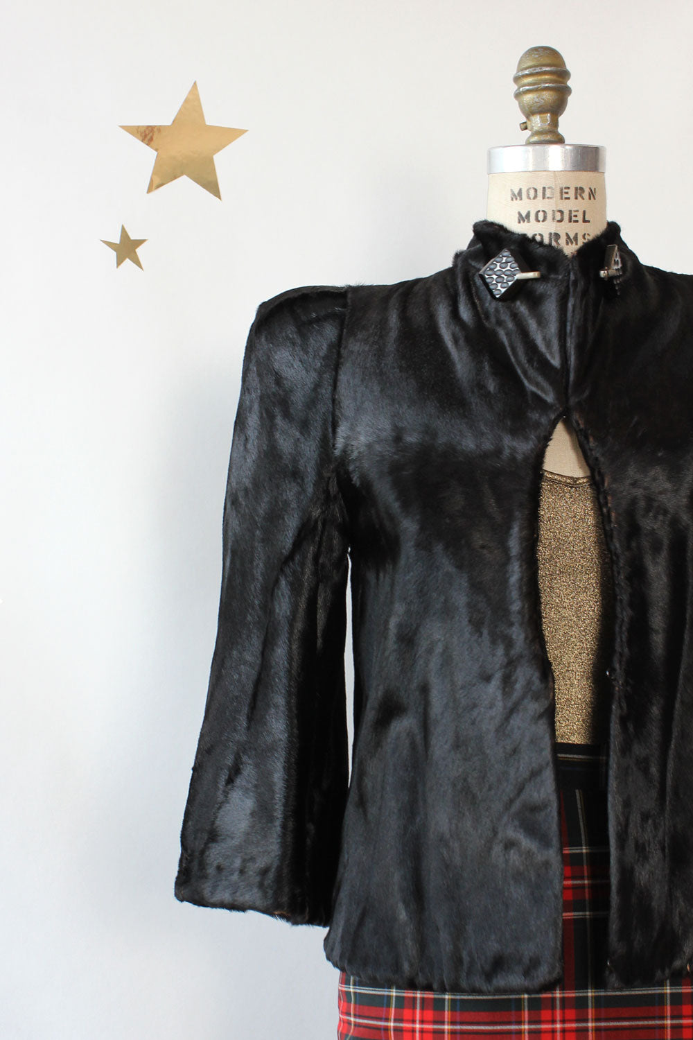 1940s Sharp Shoulder Ponyskin Jacket XS/S