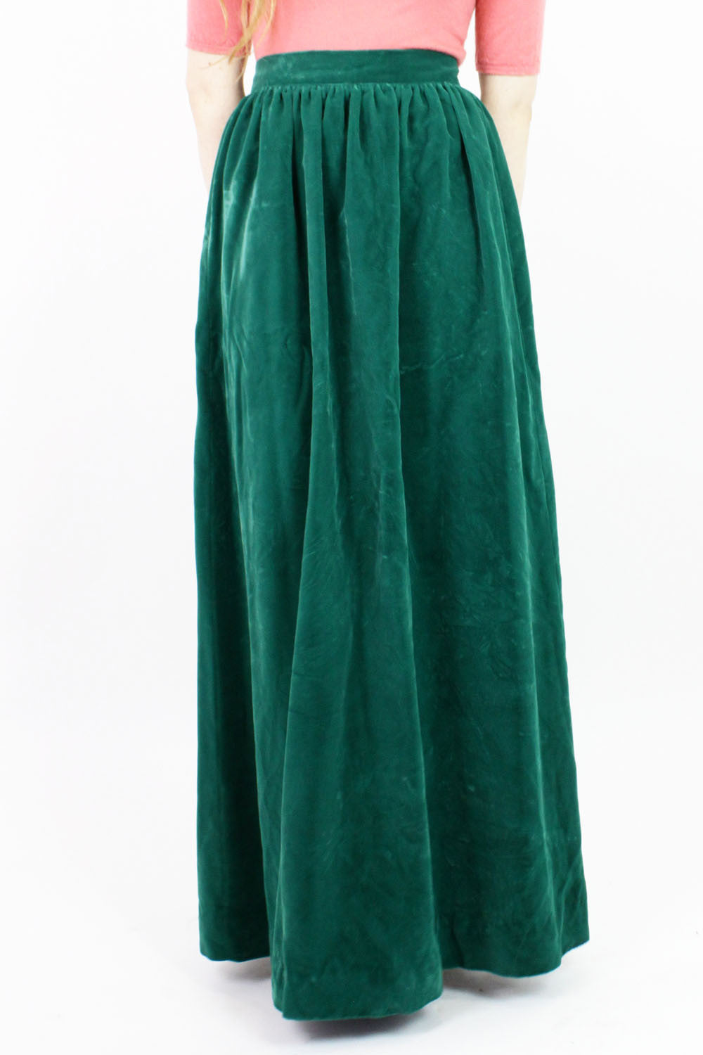 SALE / Ivy Green Silk Velvet Maxi Skirt S