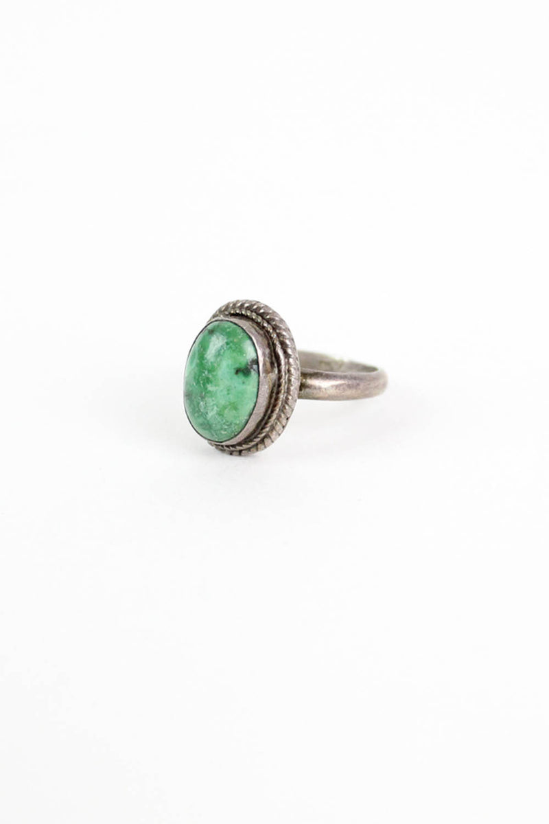 Green Turquoise Reeded Ring