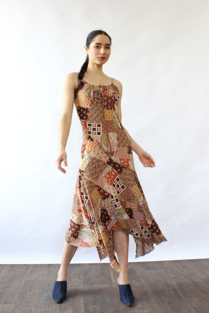 Patchwork Print Halter Dress XS-M