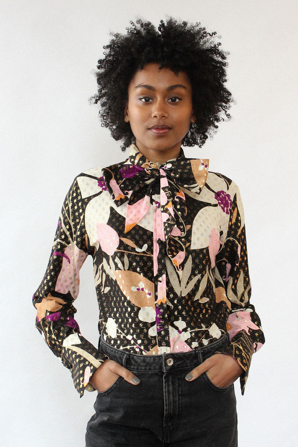 Lurex Floral Pussybow Blouse M