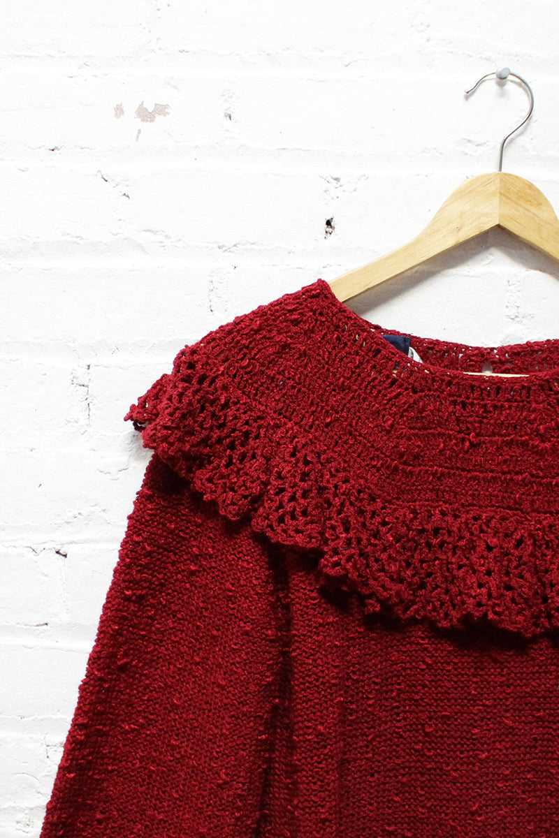 Burgundy Peasant Sweater M