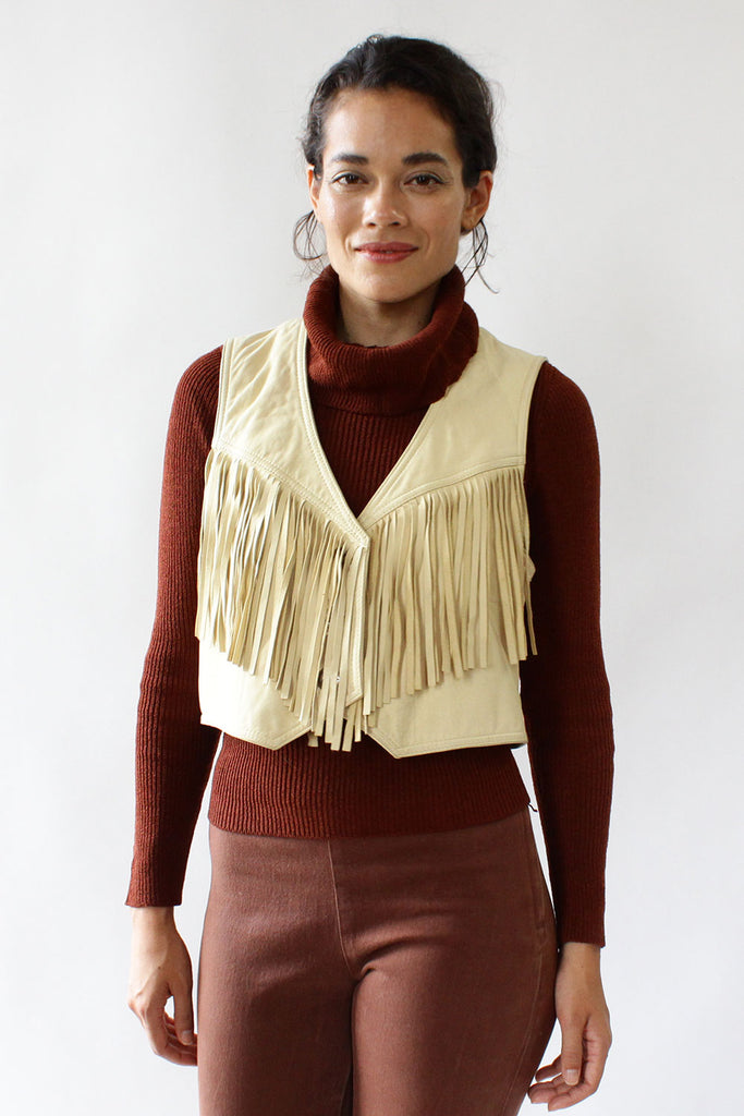 Camel Fringe Leather Vest M/L