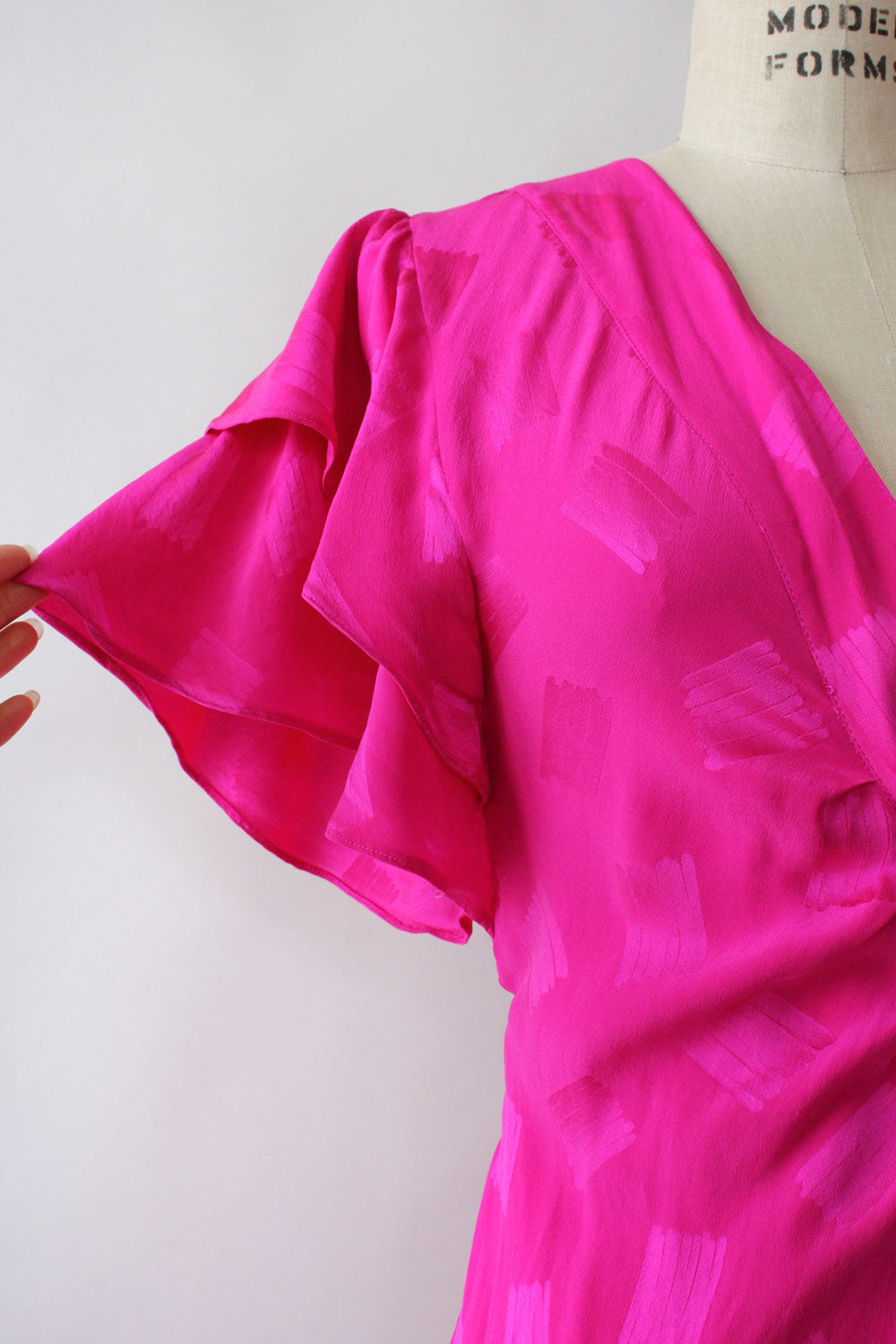 Hot Pink Silk Flutter Dress S/M