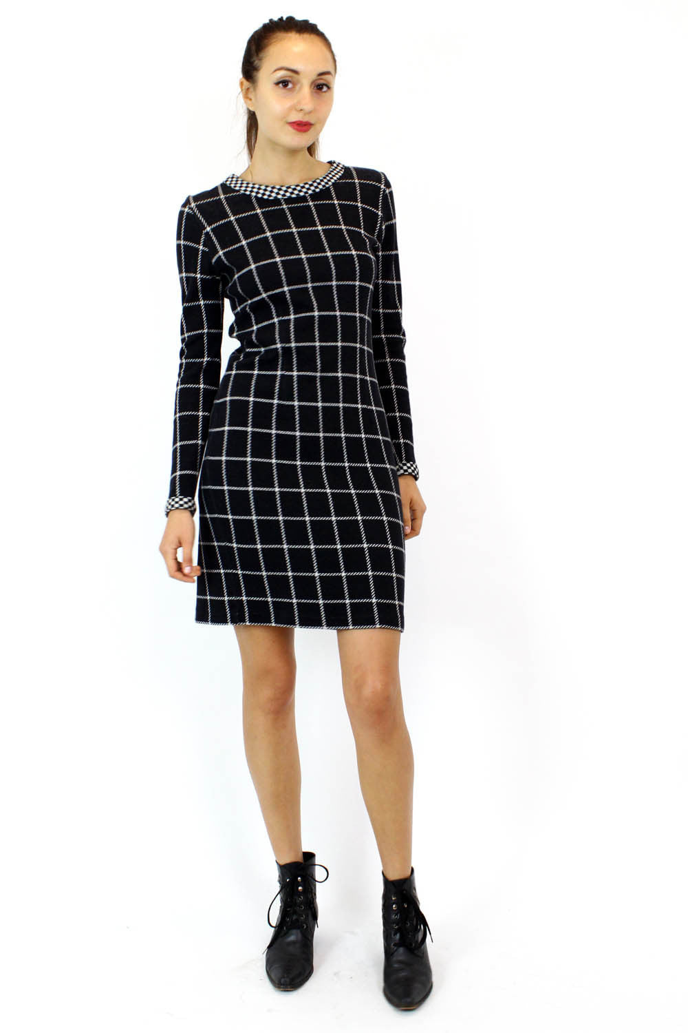Vittadini On the Grid Dress S/M