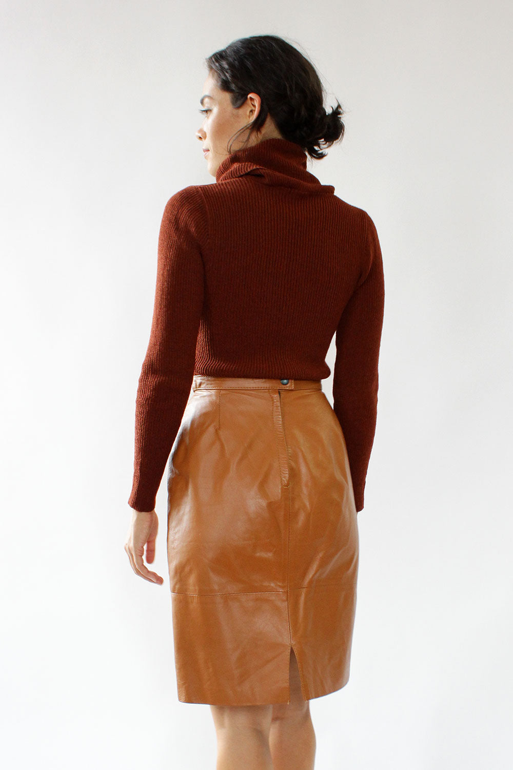 Toffee Leather Skirt M
