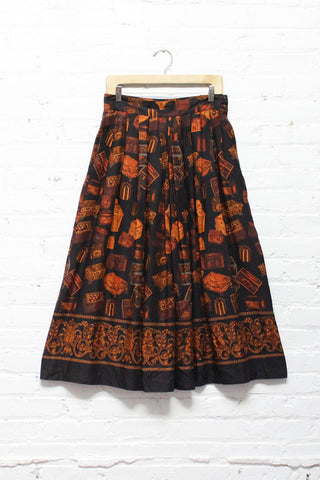 Treasure Chest Print Skirt M