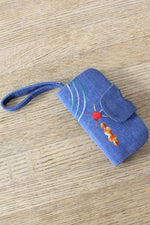 Embroidered Denim Wallet